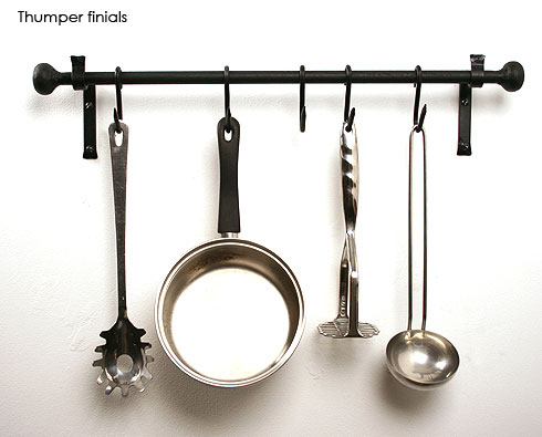Iron pan rack with thumper finials