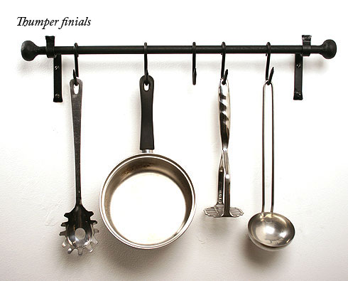Kitchen Pan Rail In Wrought Iron Wall Mount