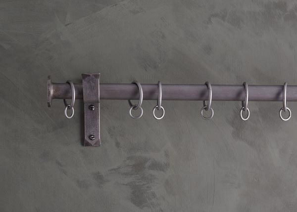 custom made iron curtain poles - button finial