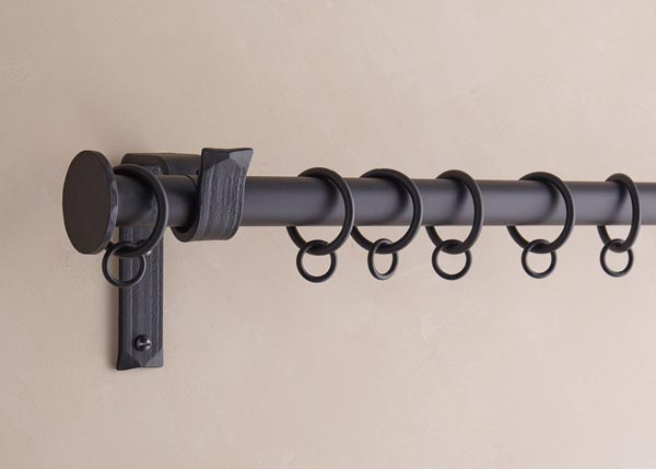 25mm curtain pole, Button finial, matt black finish