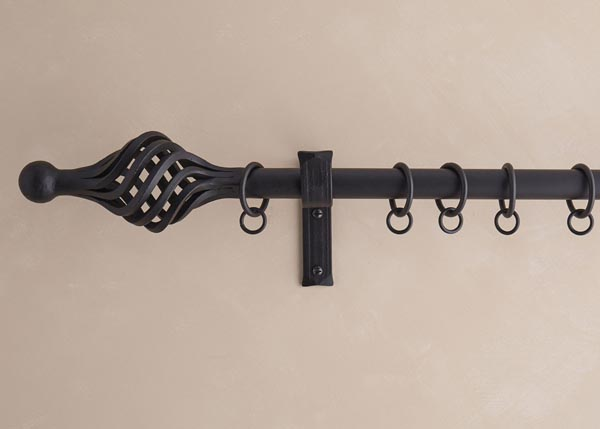 25mm Curtain pole with Ball and Twisted Cage finial, matt black wax finish