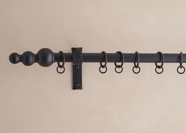 25mm curtain pole, Cannonball Stack finial, matt black finish