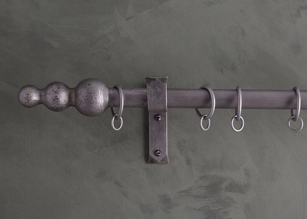 custom made iron curtain poles - Cannonball Stack finial