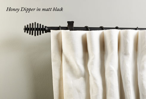 Iron Curtain Pole With Honey Dipper Finials