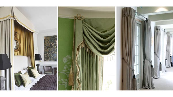 Windows dressed with curtains and French poles from Magenta Interiors