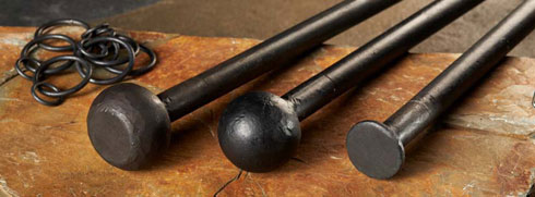 Wrought Iron Curtain poles with thumper, cannonball and button finials