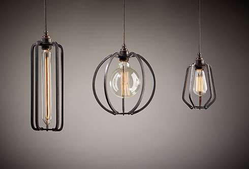 Iron cage lights: Long cage, globe and teardrop cage light
