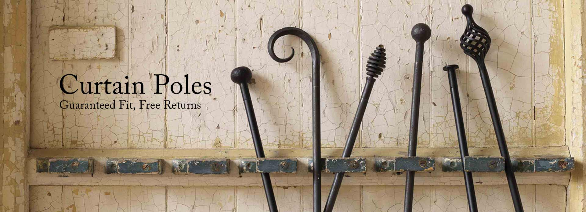 Wrought iron curtain poles made to order