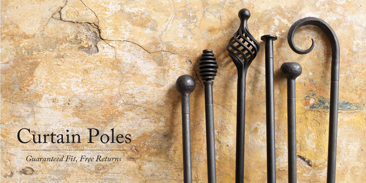Wrought iron curtain pole range