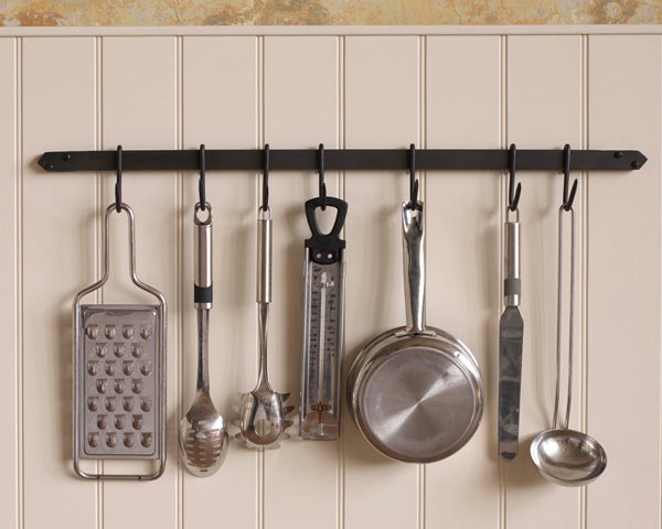 Kitchen pan rack, wall mount