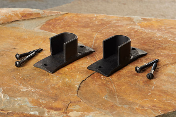 Wrought iron recess curtain pole brackets
